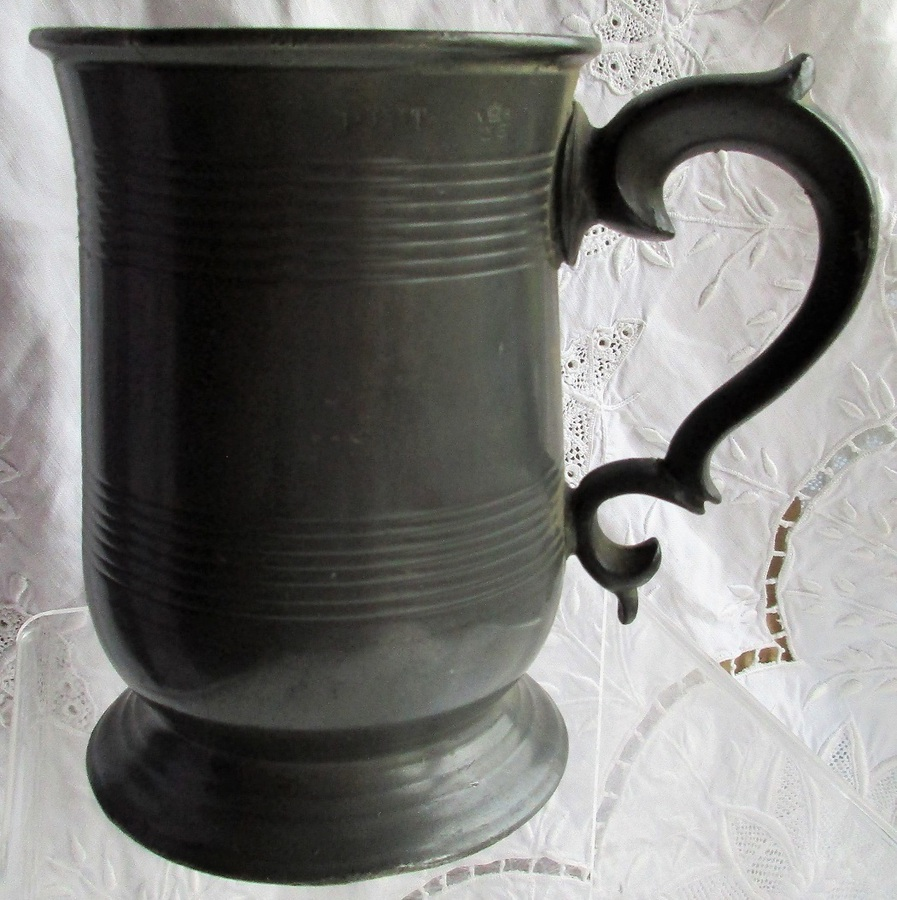 Antique English Victorian Pewter Pint Mug