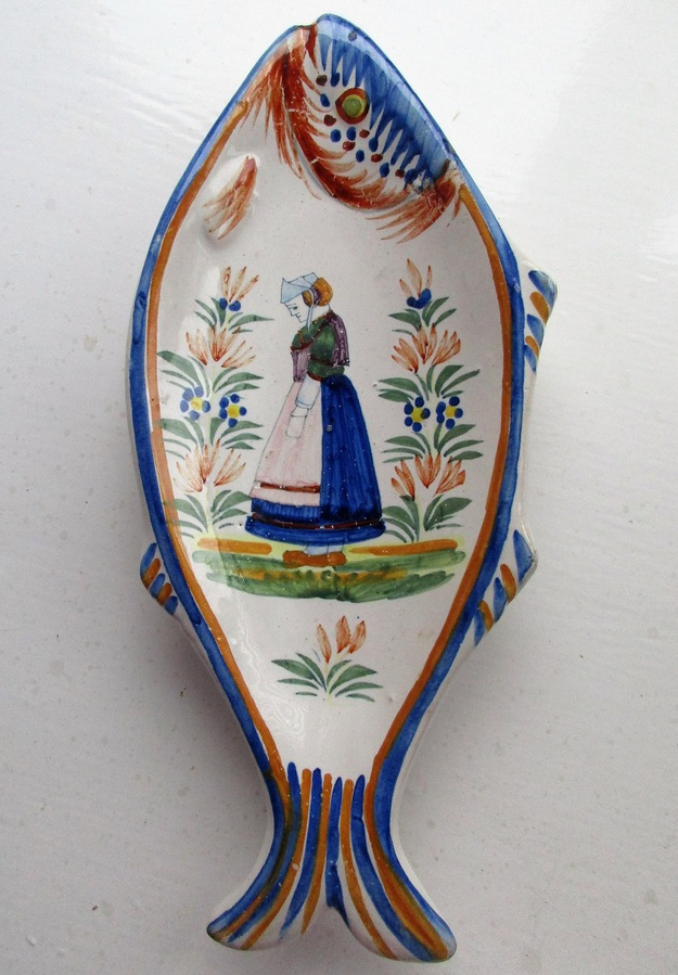 Vintage Henriot Quimper French Faience Fish Dish