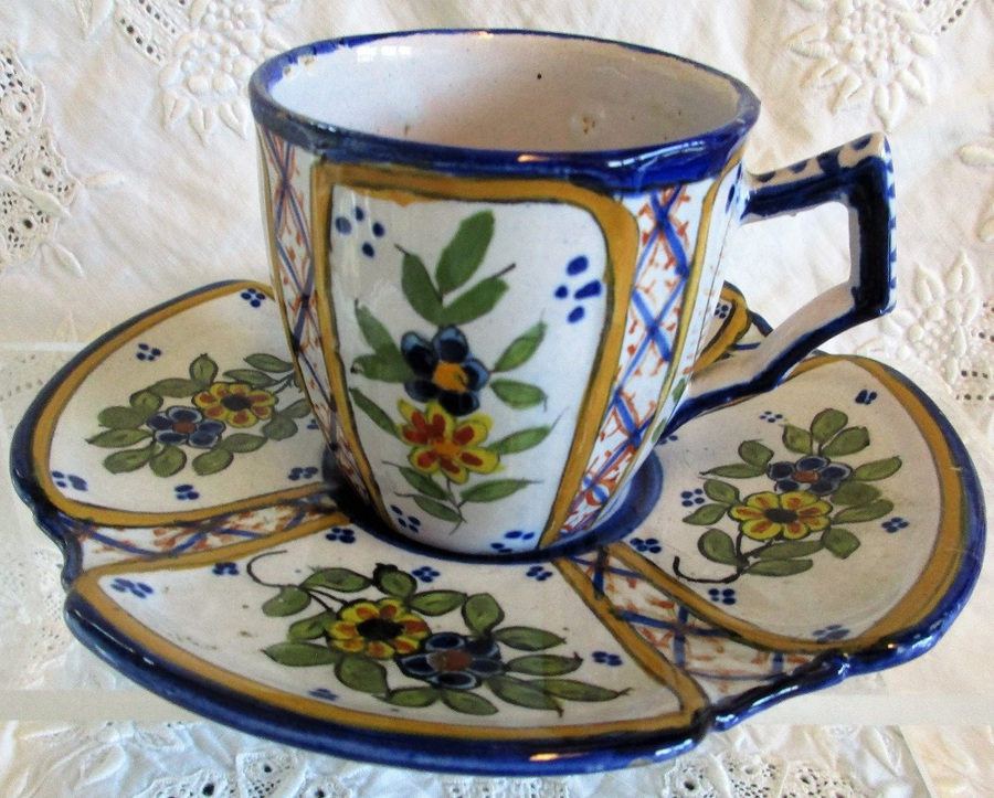 Antique HB Quimper French Faience Coffee Cup and Saucer