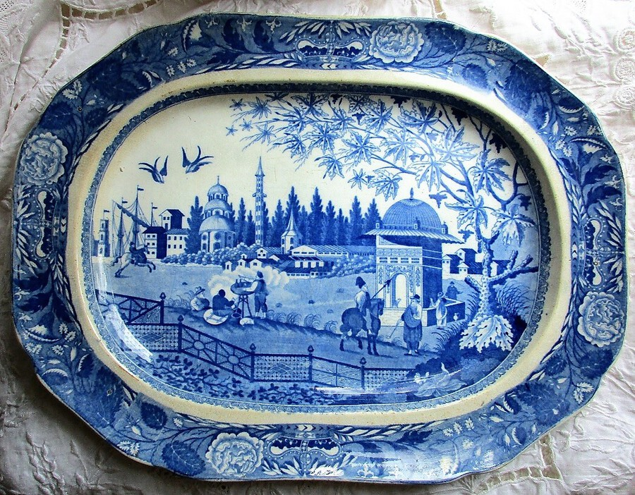 "Antique English Georgian Blue and White Transfer Pottery Serving Dish / Platter ~ ""Eastern Port"" ~ John & William Ridgway"