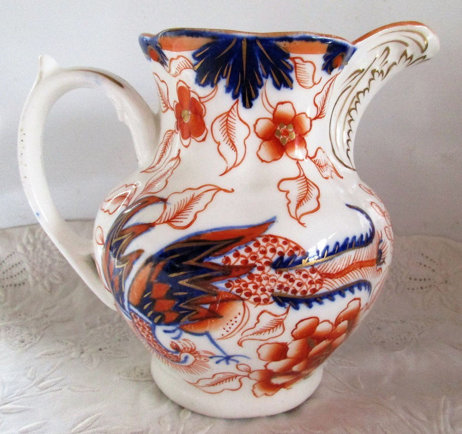 "Antique Victorian Gaudy Welsh ""Pheasant"" Pattern Pottery Jug"