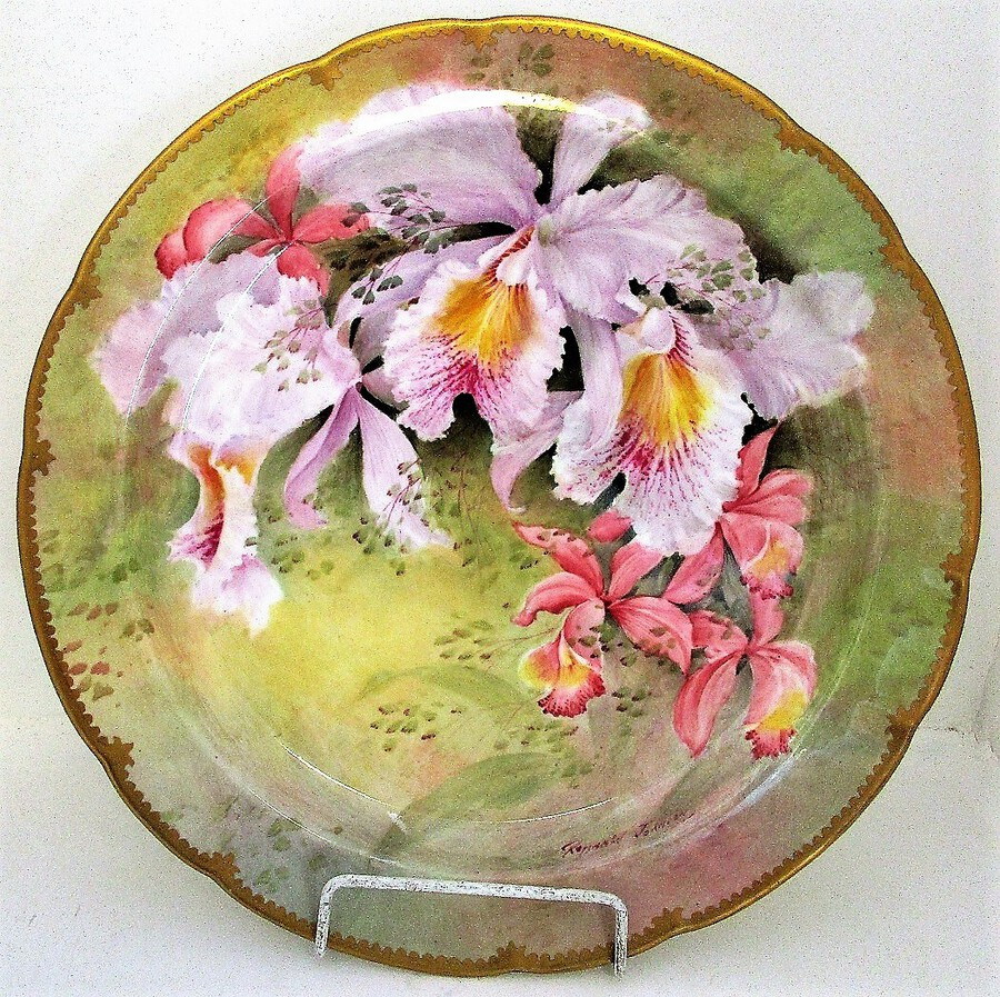 "English Porcelain Cabinet Dish ~ ""Cattlaya Mossiae Orchids"" ~ Reginald Johnson"