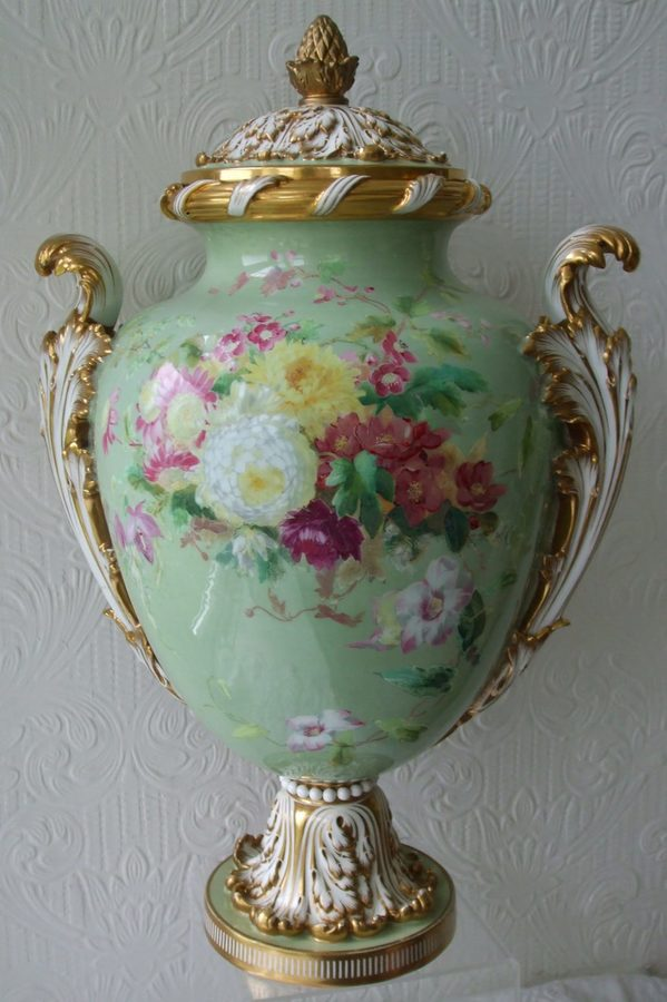 Antique English Victorian Minton's Porcelain Vase and Cover
