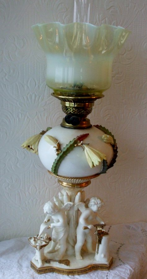 Antique English Victorian Moore Brothers Porcelain Oil Lamp