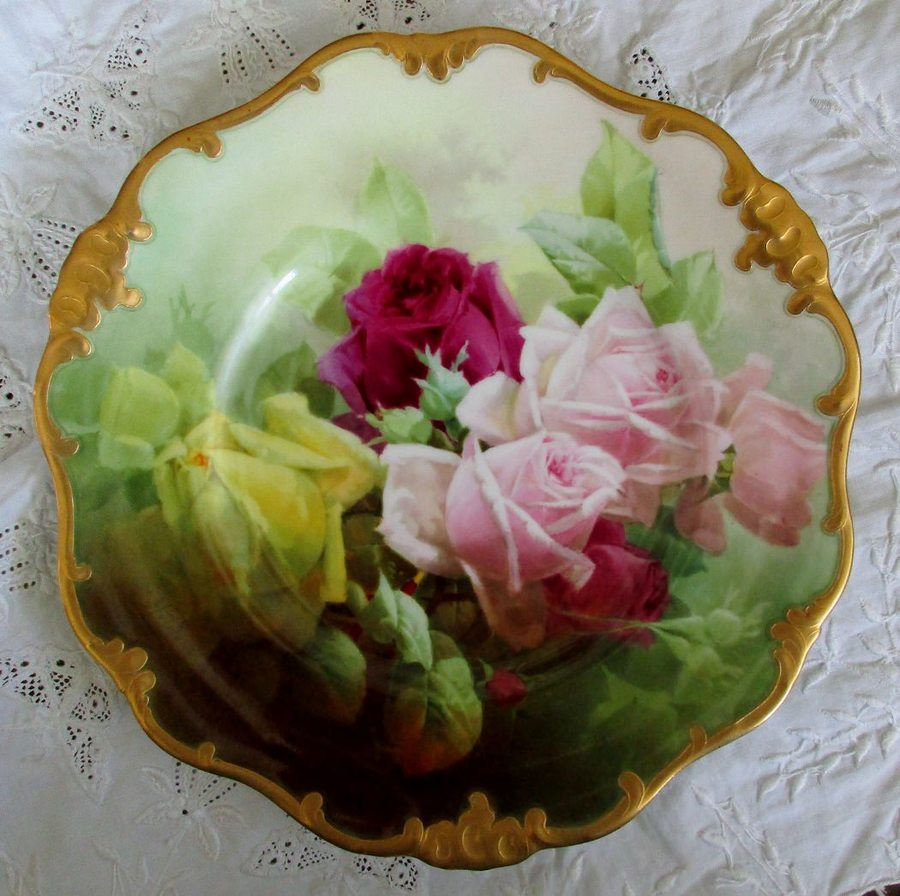 "Antique English Victorian Doulton Porcelain Cabinet Plate ~ ""Roses"" ~ Harry Piper"