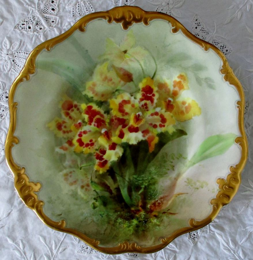 "Antique English Royal Doulton Porcelain Cabinet Plate ~ ""Odontoglossum . Var, Rothschild Orchids"" ~ David Dewsberry"