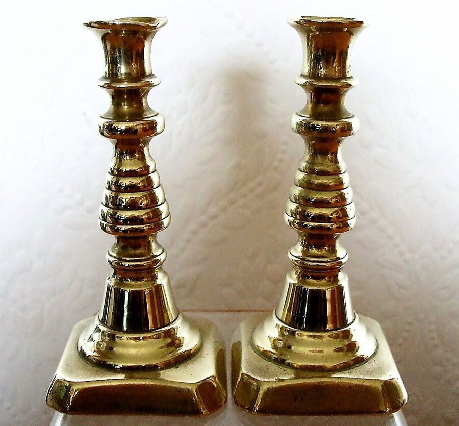 Pair of Antique English Victorian Brass Tapersticks