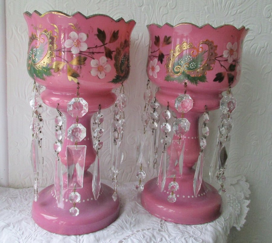 Pair of Antique English Victorian Pink Glass Lustres
