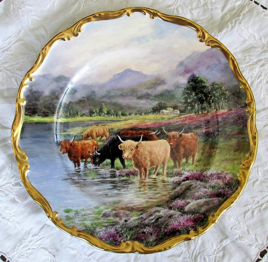 "English Porcelain Dished Cabinet Plate ~ ""Highland Cattle"" ~ Reginald Johnson"