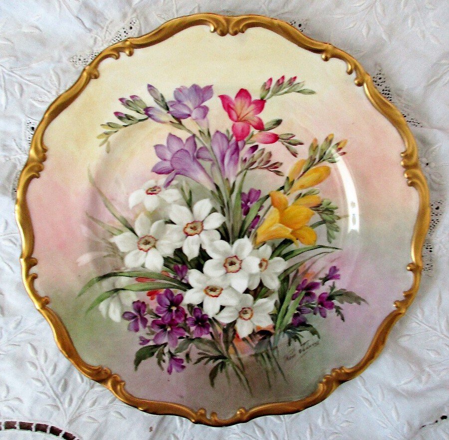 "English Porcelain Cabinet Plate ~ ""Spring Bouquet"" ~ Reginald Johnson"