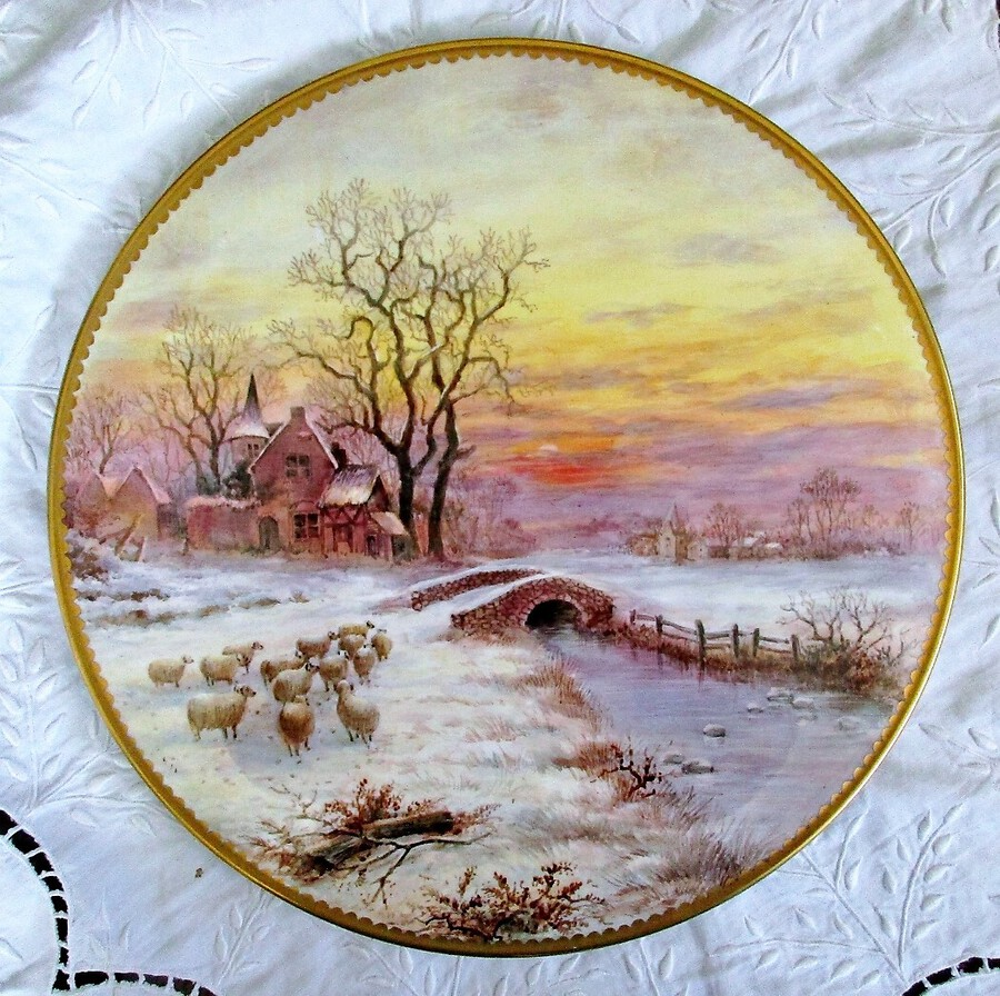 "English Porcelain Cake / Cheese Stand ~ ""Winter Sunset with Sheep ~ I of III"" ~ Reginald Johnson"