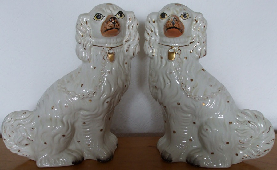 "Antique Pair of Antique English Victorian Staffordshire Pottery ""Comforter"" Spaniels ~ H 2416 ~ H 2417"