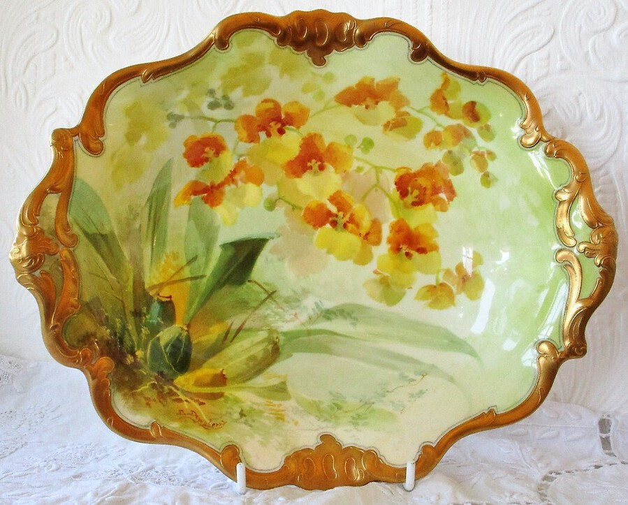 "Antique English Edwardian Royal Doulton Porcelain Cabinet Dish ~ ""Oncidium Forbesii Orchids"" ~ David Dewsberry"