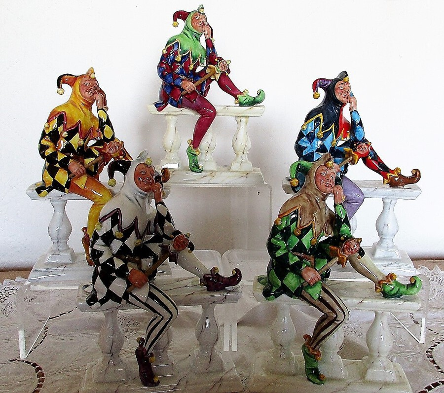 "Set of Five Connoisseur English Porcelain Figurines ~ ""The Jester"""