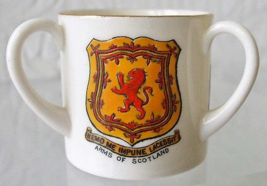 W.H. Goss ~ Fairy Three Handled Loving Cup ~ A.C.C. No. 475 ~ Arms of Scotland ~ Arms of Sir W. Scott ~ Inverness