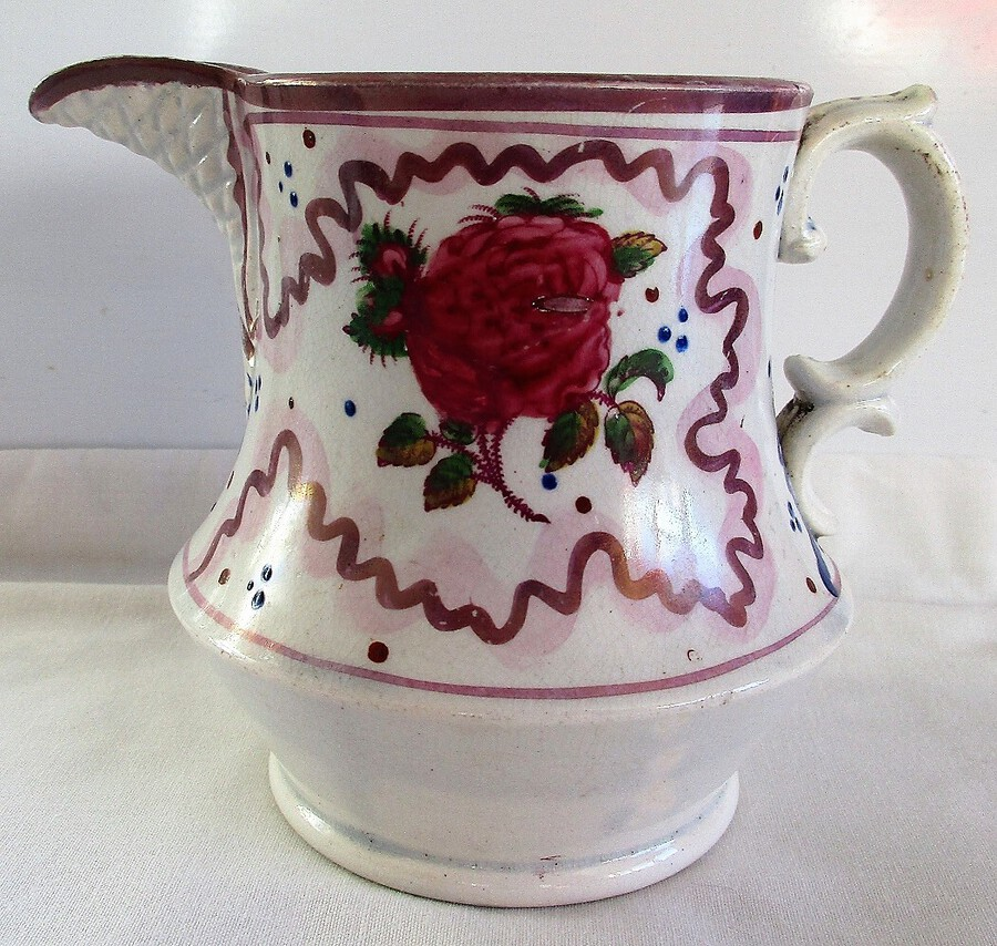 "Antique Victorian Gaudy Welsh ""Rose"" Pattern Pottery Jug"