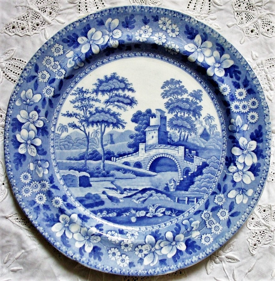 "Antique English Georgian Blue and White Transfer ""Tower"" Pattern Pottery Dessert Plate ~ Spode"
