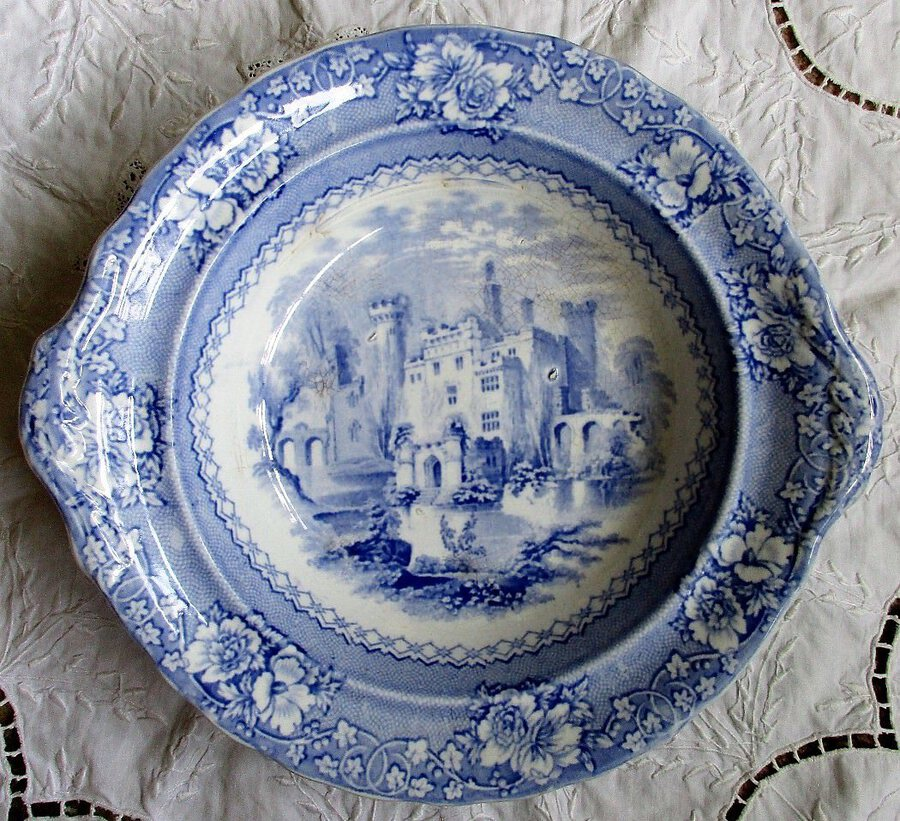 "Antique English Victorian Blue and White Transfer ""Alhambra"" Pattern Pottery Vegetable Tureen Base"