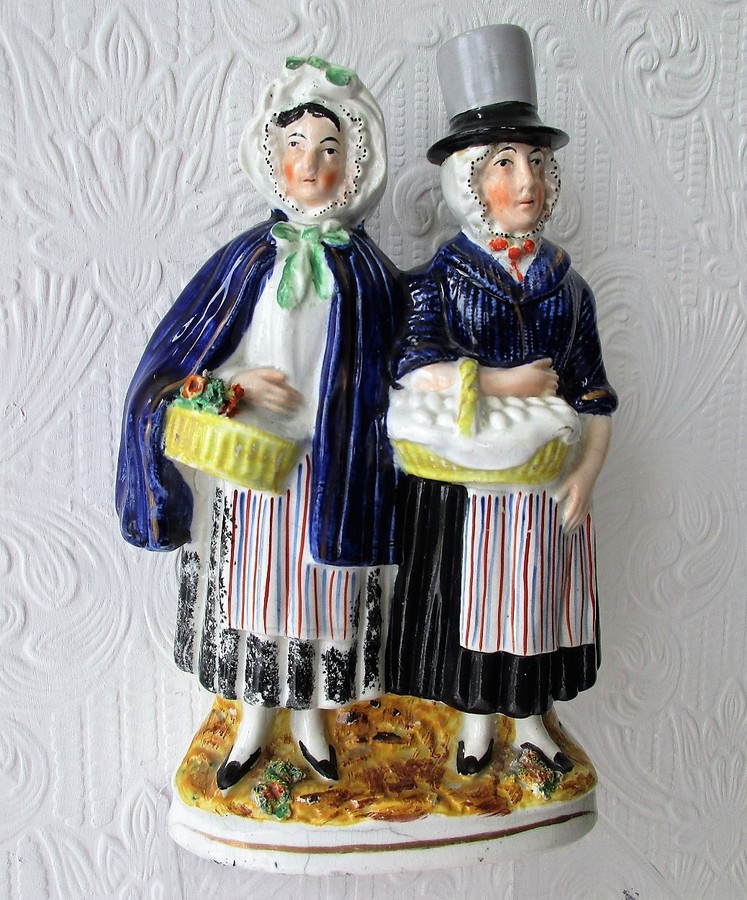 "Antique English Victorian Staffordshire Pottery Figure ~ ""Two Welsh Farmers' Wives at Market"" ~ H a2209"