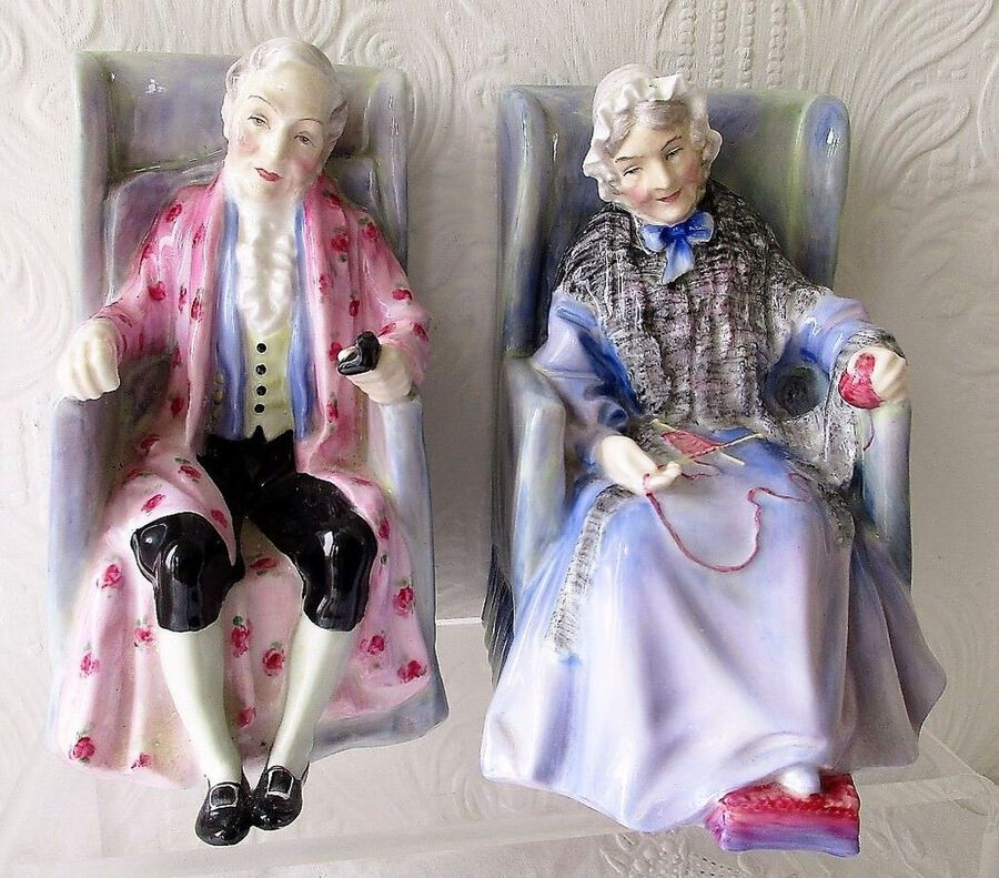 "Pair of Vintage Royal Doulton English Porcelain Figurines ~ ""Darby & Joan"" ~ HN 2024 & HN 2023"