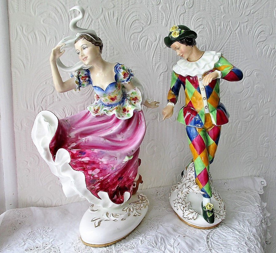 "Pair of Royal Doulton English Porcelain Figurines ~ ""Harlequin"" ~ HN 2737 and ""Columbine"" ~ HN 2738"
