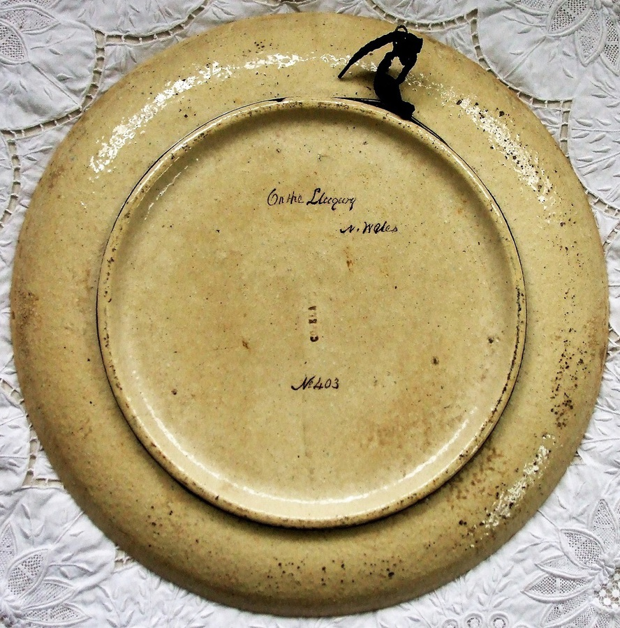"Antique Antique English Victorian Copeland Pottery Charger ""On the Llugwy ~ N. Wales ~ No. 403"" ~  Decorated and Signed by William Yale of Stoke"