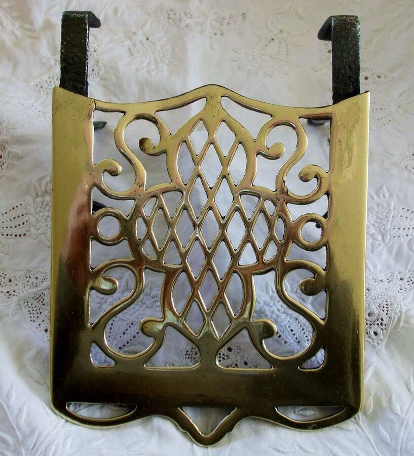 Antique English Victorian Brass and Iron Hook-on Trivet
