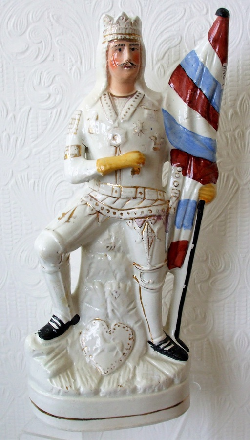 "Antique English Victorian Staffordshire Pottery Theatrical Portrait Figure ~ ""George Rignold as Henry V"" ~ P E190 ~ H 4143"