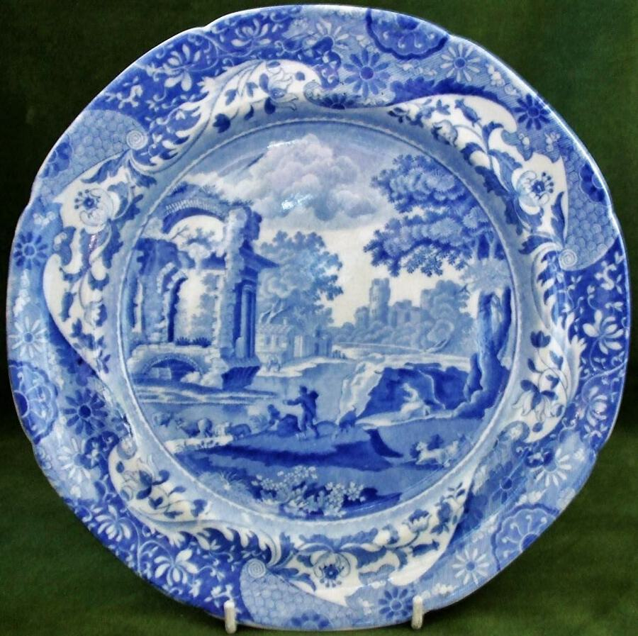 "Antique English Georgian Blue and White Transfer ""Italian"" Pattern Pottery Plate ~ Spode"
