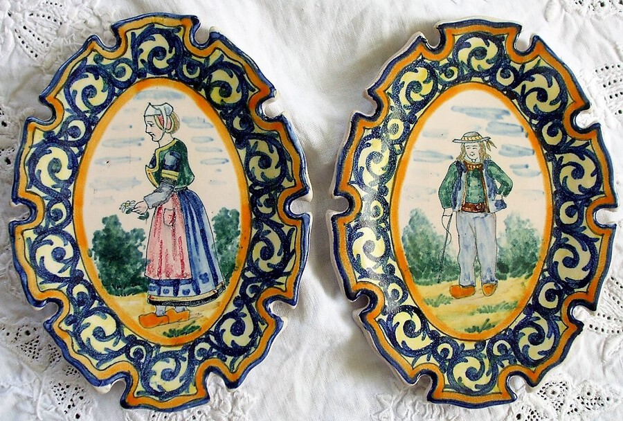 Antique Pair of Antique HR Quimper French Faience Pin Trays