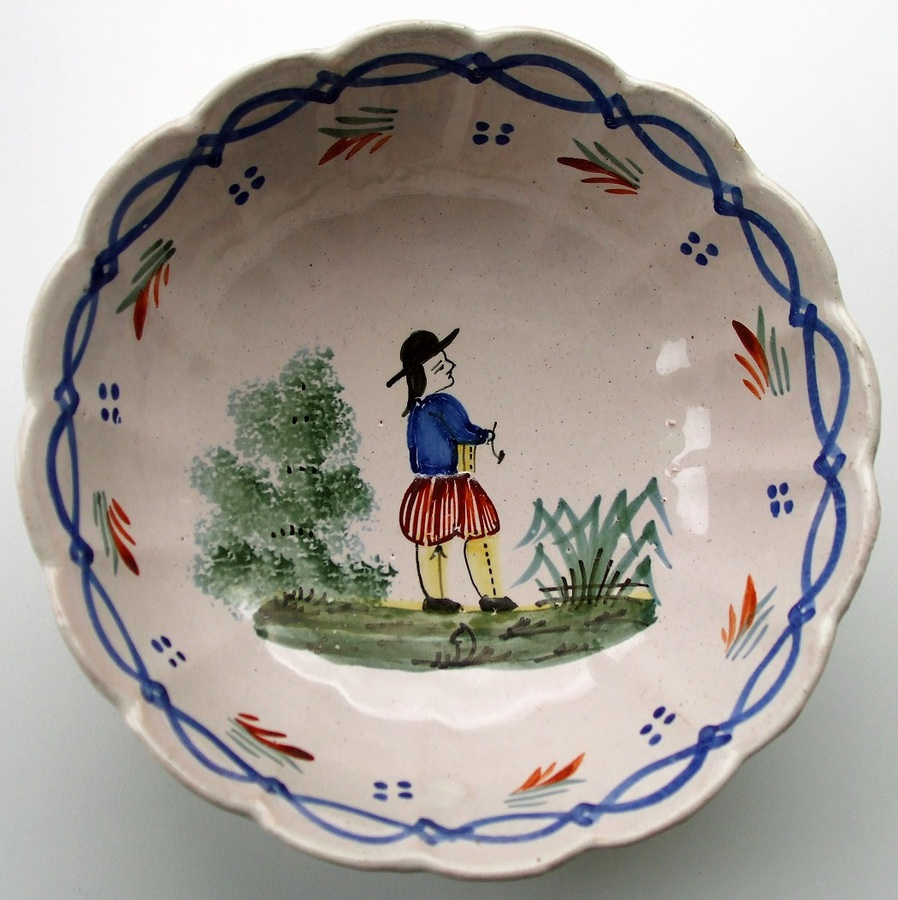 "Antique ""HB"" Quimper French Faience Bowl"
