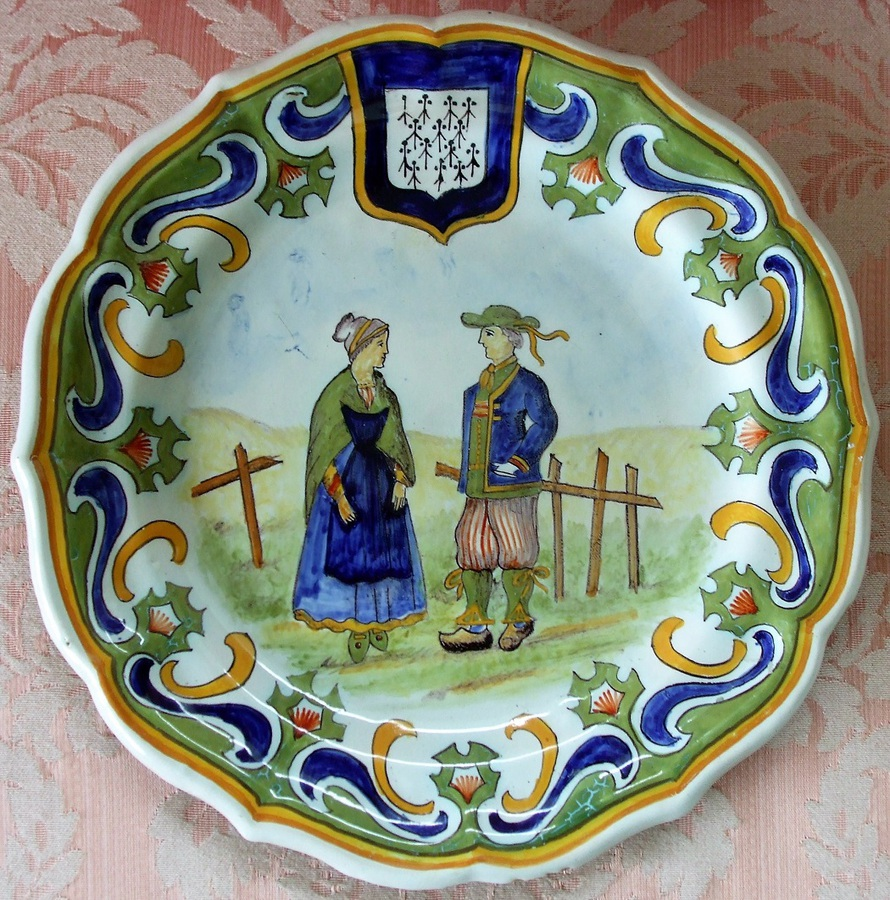 Antique Desvres French Faience Dish