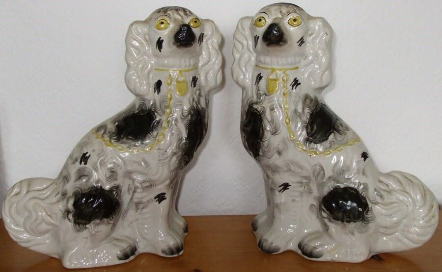 "Pair of Antique English Victorian Staffordshire Pottery ""Comforter"" Spaniels ~ H 2416 / H 2417"