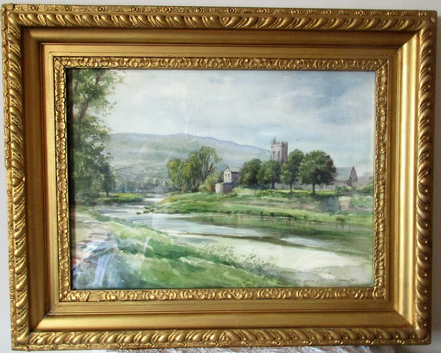 Llanrwst Church and River Conway  ~ Watercolour ~ Reginald Johnson ~ c. 1974