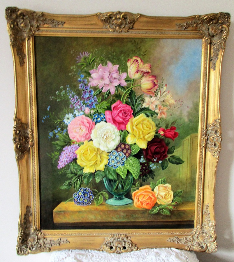 Late Spring Floral Arrangement ~ Oil Painting on Canvas ~ Reginald Johnson ~ c. 1983