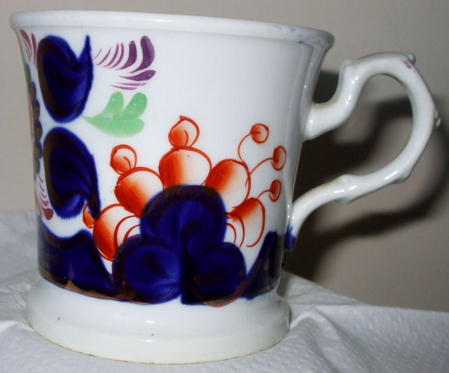 "Antique Victorian Gaudy Welsh ""Thistle"" Pattern Pottery Mug"