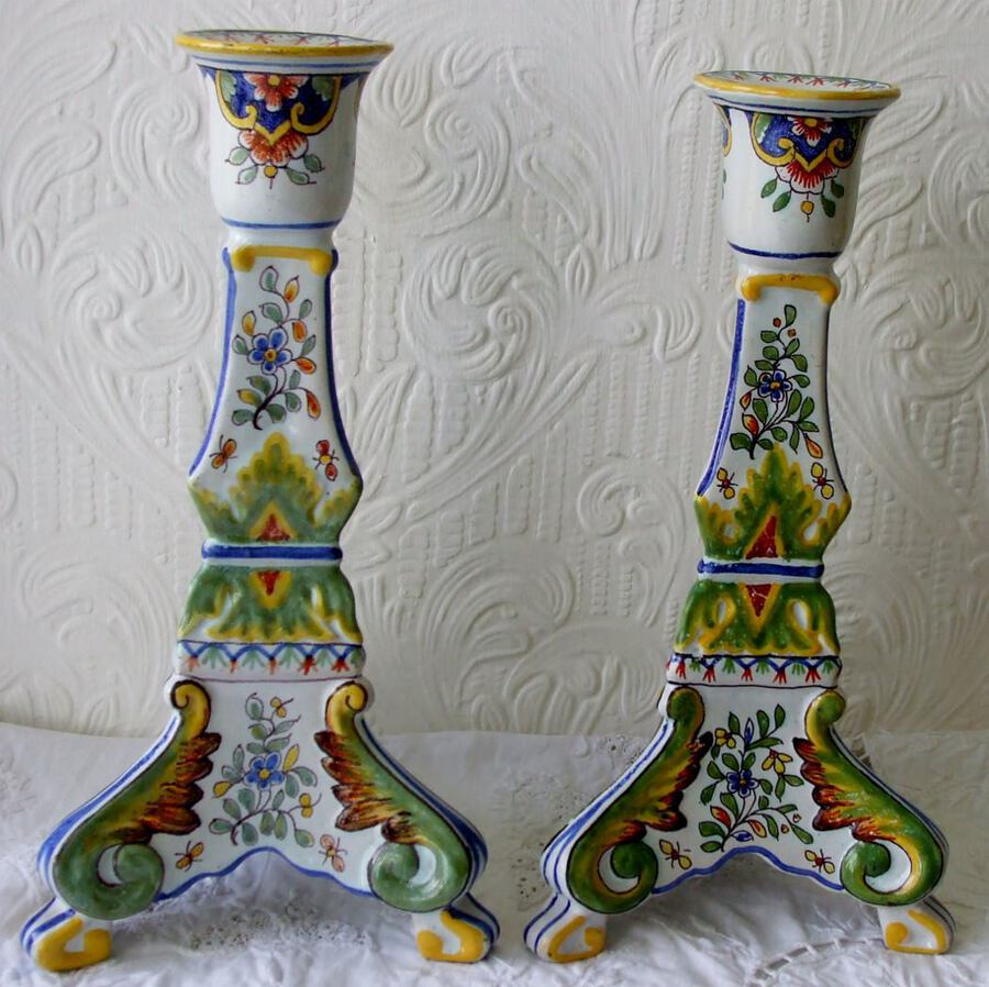 "Pair of Antique German Faience ""Mosanic"" Candlesticks"