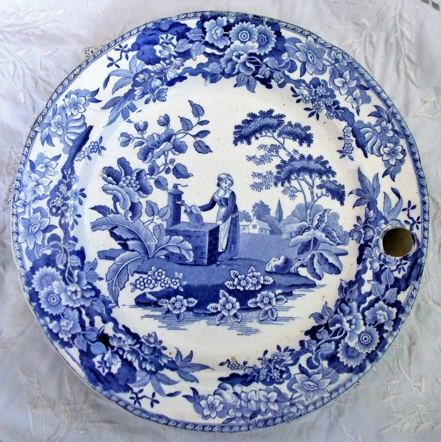 "Antique English Victorian Blue and White Transfer ""Girl at the Well"" Pattern Pottery Hot-Water Plate ~ Copeland & Garrett"