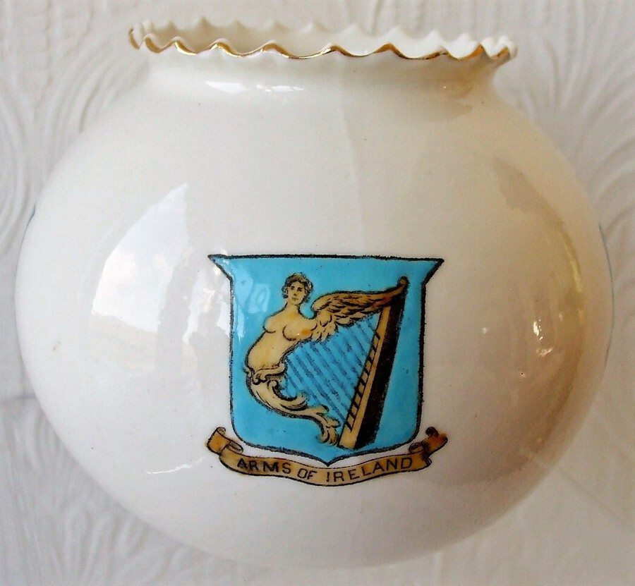 W.H. Goss ~ Fairy Ball Vase ~ Crinkle Top ~ Arms of Ireland ~ Dublin, Badge of Ireland ~ Trinity College Dublin
