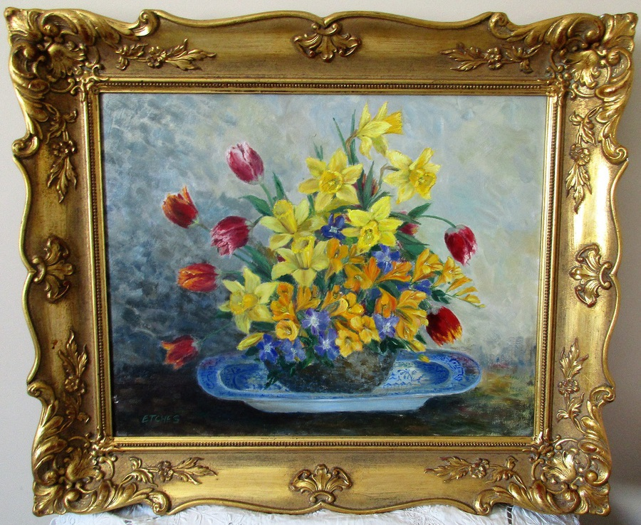 Spring Bouquet ~ Oil Painting on Board ~ Dorothy Etches ~ c. 1985