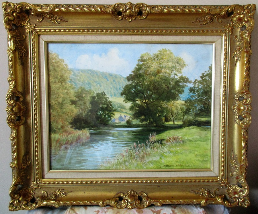 The River Wye near Bakewell, Derbyshire ~ Watercolour ~ Reginald Johnson ~ c. 1990