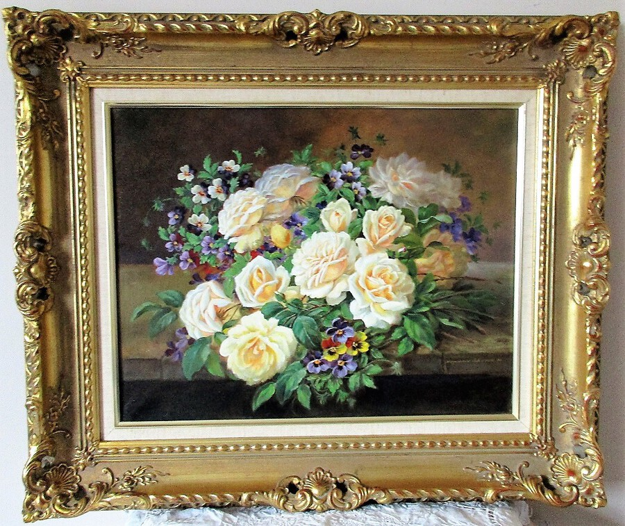 Cream Roses and Pansies ~ Oil Painting on Canvas ~ Reginald Johnson ~ c. 1990