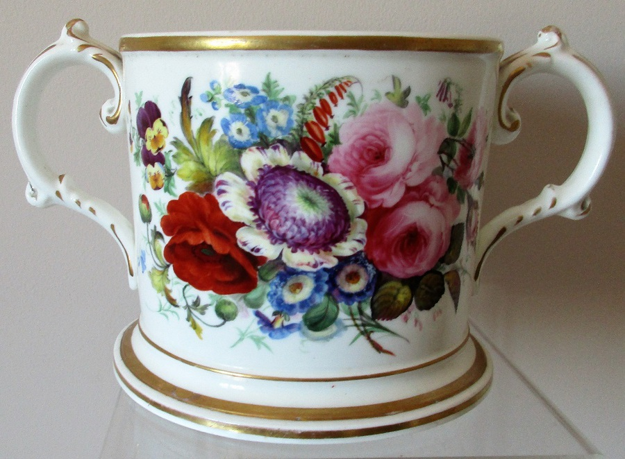 Antique English Victorian Staffordshire Porcelain Loving Cup