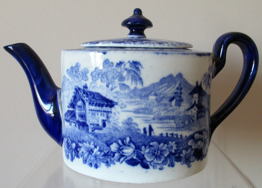 "Antique English Victorian Mintons ""Genevese"" Pattern Porcelain ""Solitaire"" Teapot"