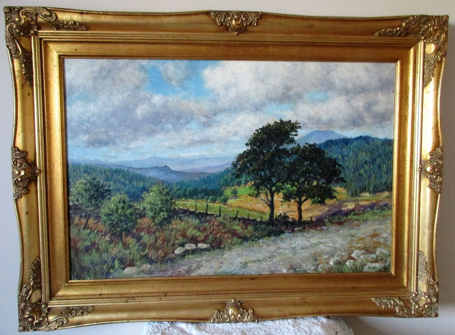 In North Wales ~ Looking East towards the Berwyns ~ Oil Painting on Board ~ Reginald Johnson ~ Circa 1985