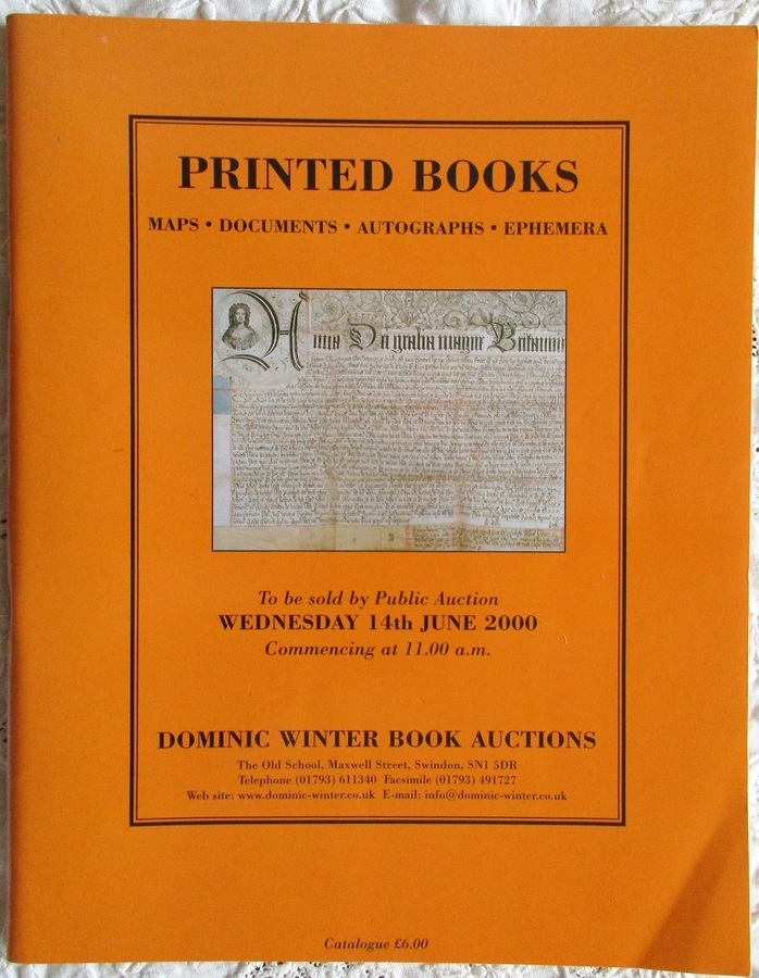 Dominic Winter Book Auctions ~ Printed Books ~ Swindon ~ 14. 06. 2000