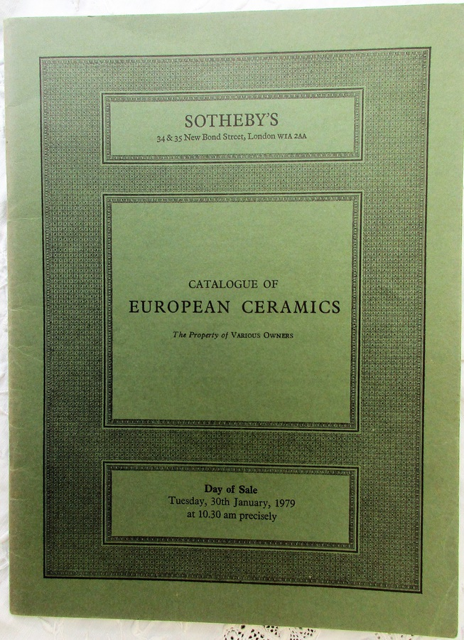 Sotheby's ~ European Ceramics ~ London ~ 30. 01. 1979