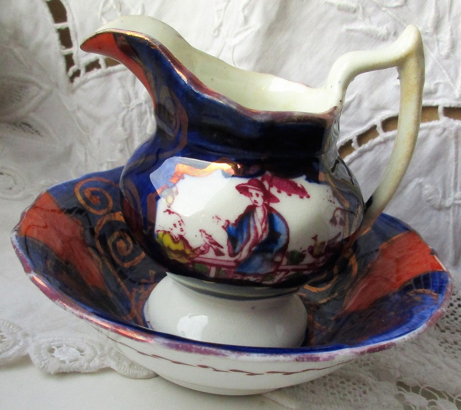 "Antique Victorian Gaudy Welsh ""Chinoiserie"" Pattern Miniature Ewer and Basin"
