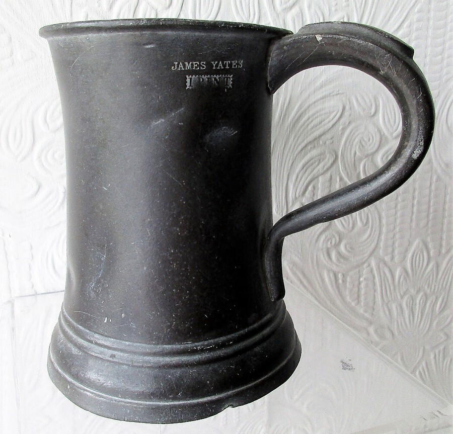 Antique English Georgian Pewter Pint Concave Mug ~ James Yates ~ Cotterell O.P. 5338