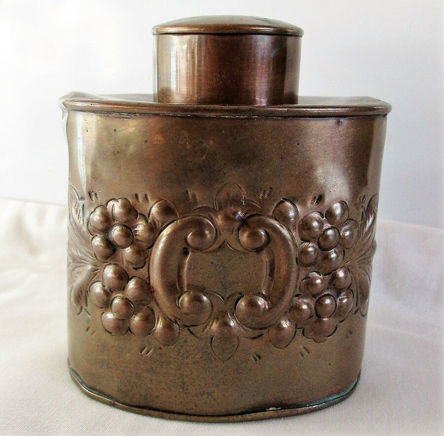 Antique English Victorian Copper Tea Caddy ~ Henry Loveridge & Co.